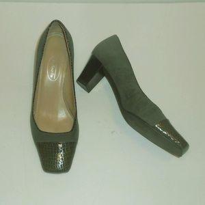 Talbots grey genuine suede leather heel